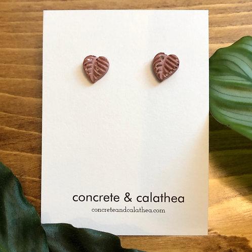 Dainty leaf concrete earrings