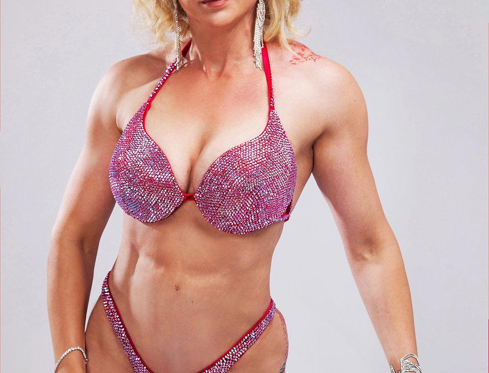 bikini rouge strass AB