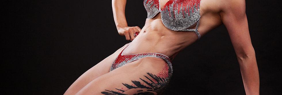 Bikini argent rouge