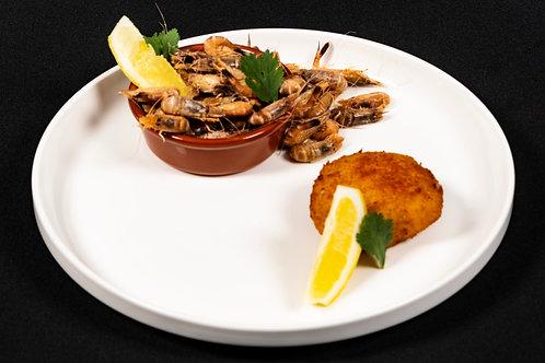 Boite de croquettes crevettes grises 33%  2X80g
