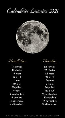 2021 _ Calendriers lunaires et sabbatiqu