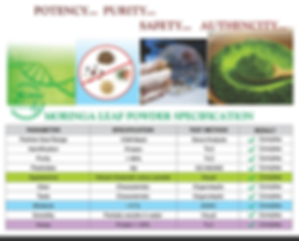 Potency, Purity, Safety, Authencity Of Moringa