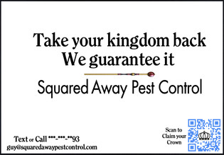Brief: Composite a USPS direct mail marketing campaign for Squared Away Pest Control combining physical and digital advertising.