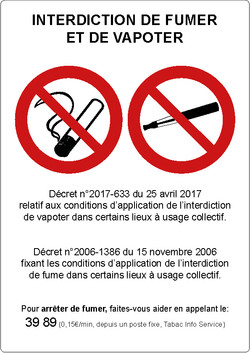 Panneau interdiction de fumer et vapoter