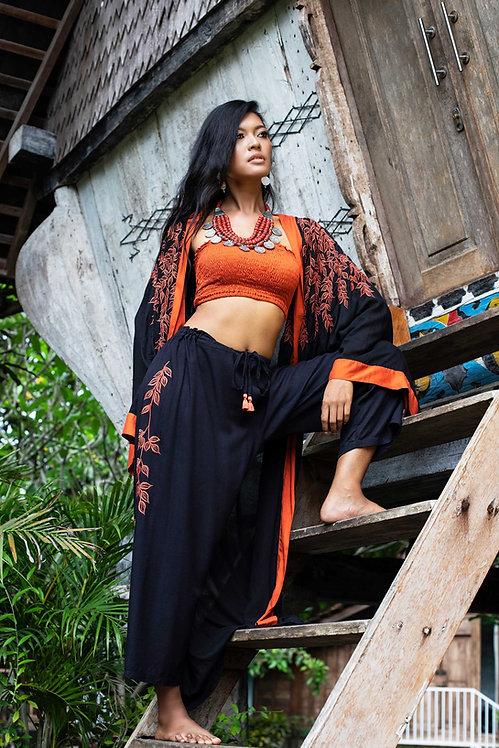 Kimono + Long Pants Foglie