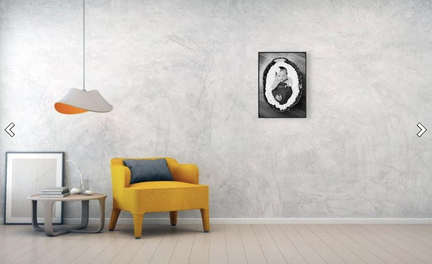 BW Basket Gallery Wrap Canvas Framed