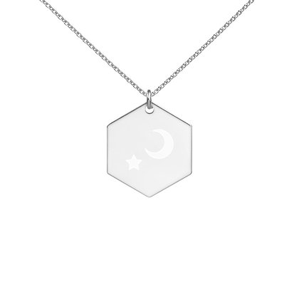 Engraved Moon & Star Necklace