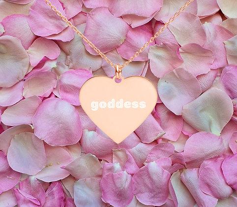 Engraved Goddess Heart Necklace