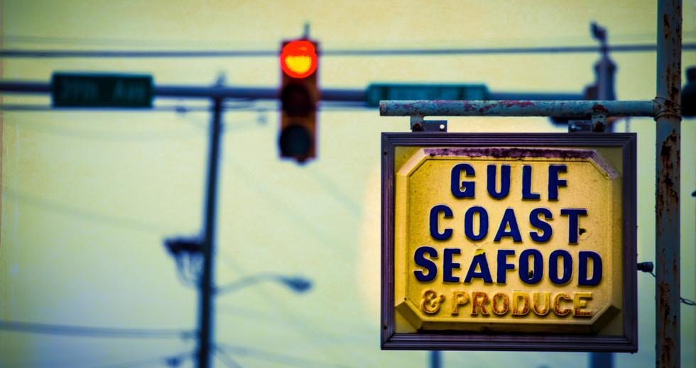 Gulf Coast Seafood & Produce Sign