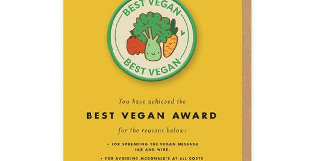 Best Vegan Woven Patch Greeting Card