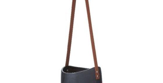 Black Hanging Pot Leather Strap