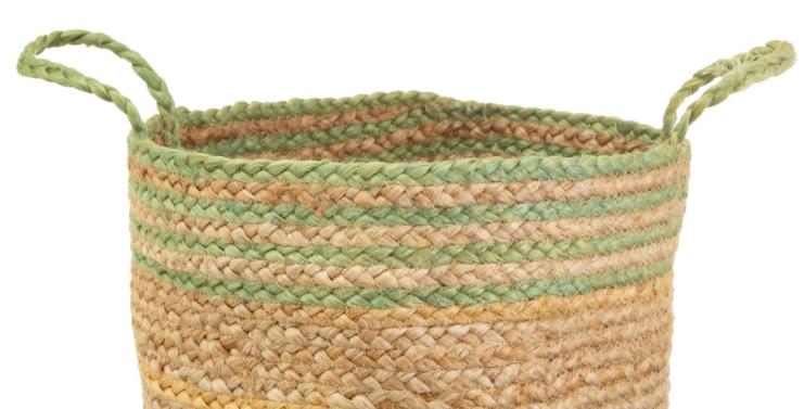 Green Stripe Jute Storage Basket