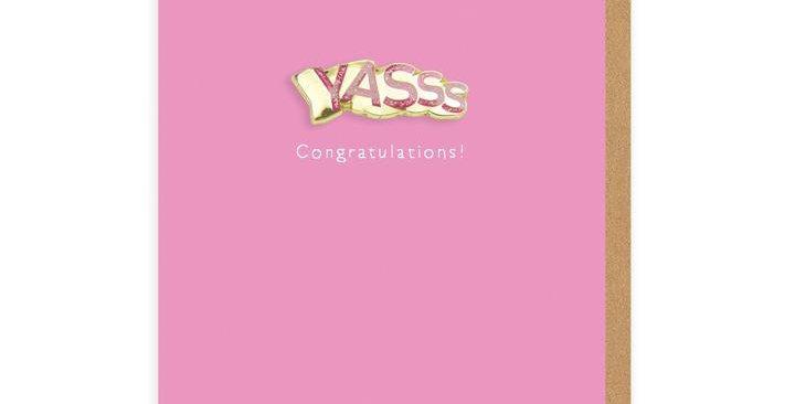 Yasss Congratulations Enamel Pin Greeting Card