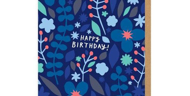 Blue Flowers Happy Birthday Greeting Card