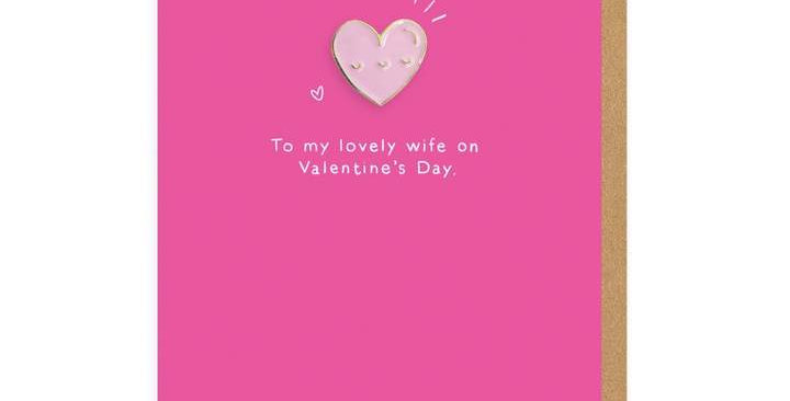 'To My Wife' Heart Pin Card
