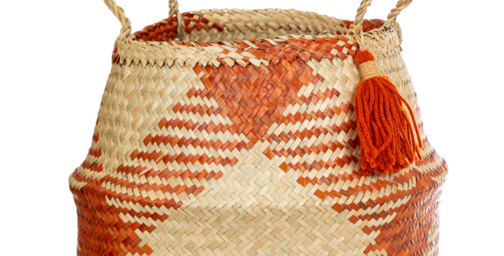 Terracotta Check Basket