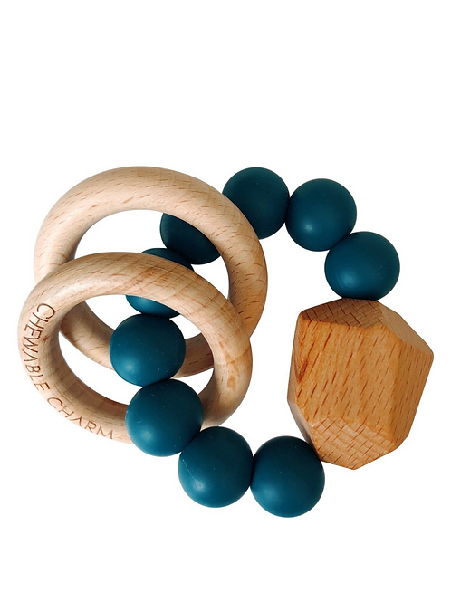 Shaded Spruce Silicone + Wood Teether Toy