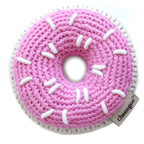 Crocheted Donut Rattle - Pink