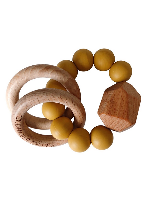 Mustard Silicone + Wood Teether Toy