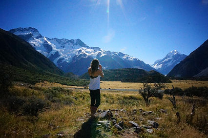 Caroline Roberts, Founder of Mawish Food looking at Mt Cook in NewZealand