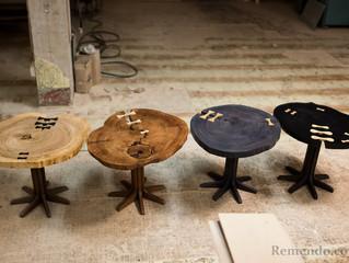 Сделали кофейные столики из цельных спилов дерева