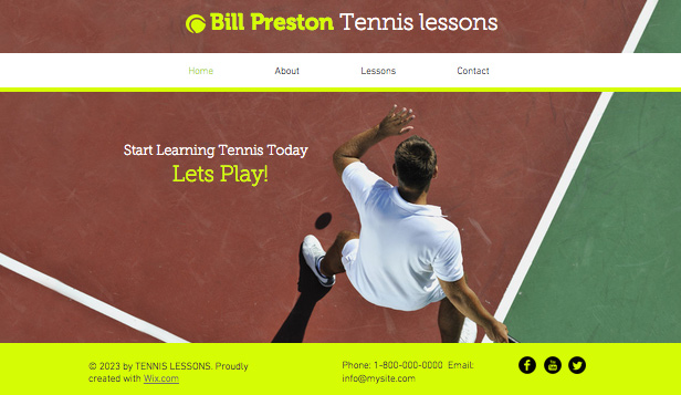 Deportes y Recreación plantillas web – Instructor de tenis
