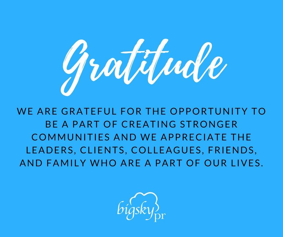 Big Sky Public Relations Value Gratitude