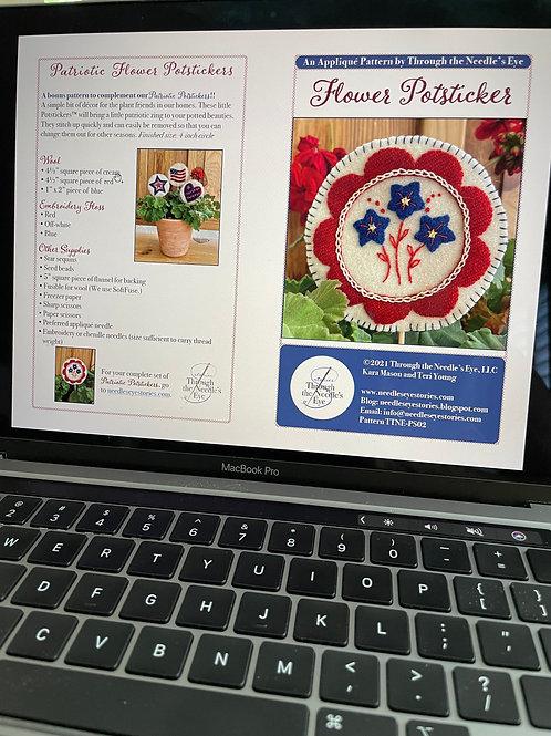 Patriotic Flower Potsticker Digital Pattern