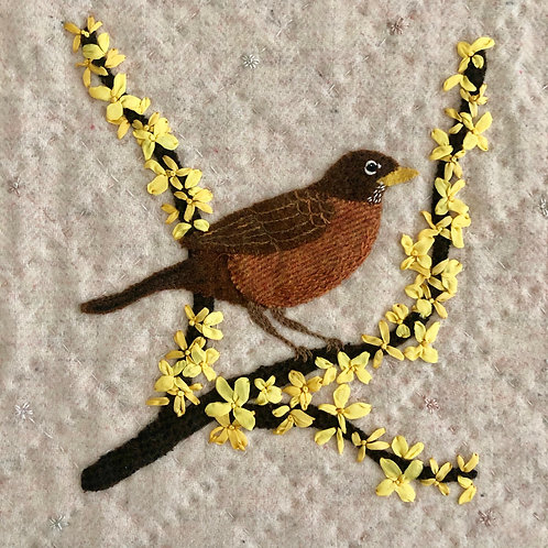 Robin and Forsythia: In the Garden Series (Digital copy)