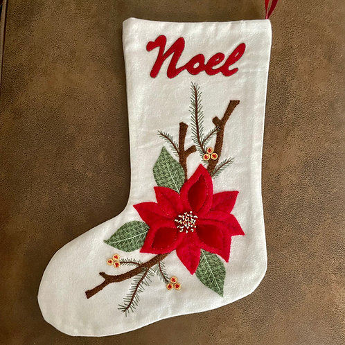 Poinsettia Stocking Printed Pattern ONLY