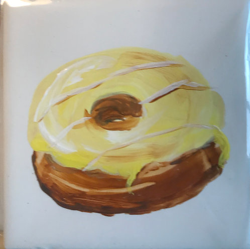 Donut with Yellow Icing and Stripes