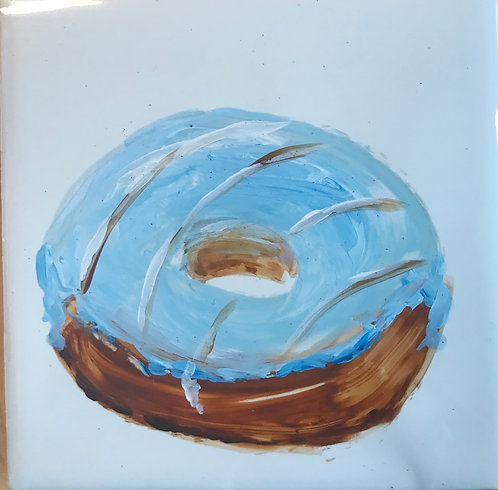 Donut with Blue Icing and Stripes