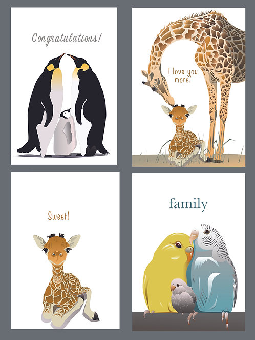 Variety Set 2 (Penguin Family, Mother/Baby Giraffe, Sweet Giraffe, Parrots