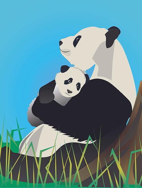 Panda Mom & Baby (Single Card)