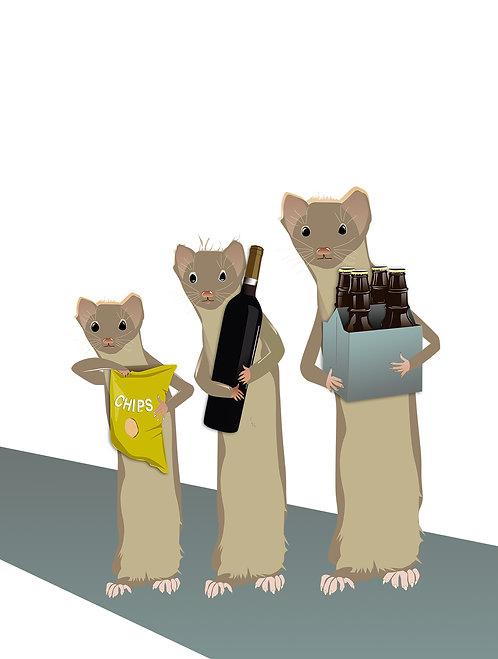 Gift-bearing Weasels (Single Card)