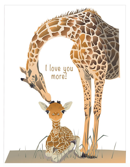 I love you more! Giraffes (Single Card)