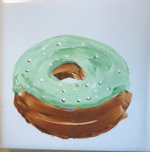 Donut with Green Icing and Sprinkles