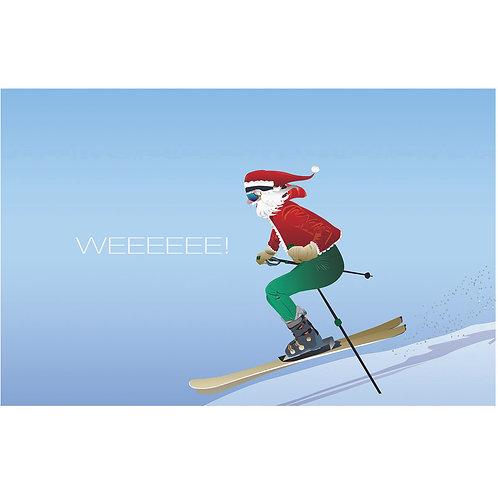 Santa Skiing (Single Card)