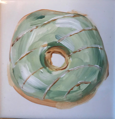 Donut with Green Icing and Stripes