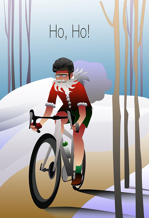 Cycling Santa Holiday Card (Set of 4)