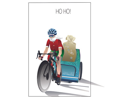 Santa on a Bike with Trailer (Single Card)