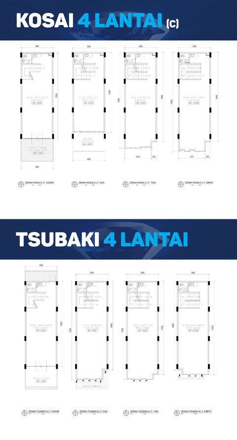 Denah Ruko - Kosai 4 Lt 5 m - Tsubaki 4