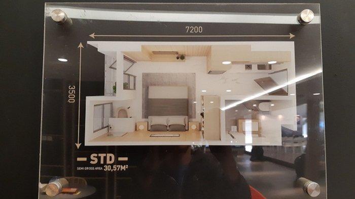 Denah unit tipe studio Tower Chihana Apartemen Vasanta Innopark, Cikarang, Kabupaten Bekasi
