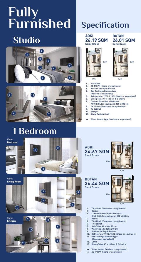 Apartemen Aoki - Botan Fully Furnished - Studio dan 1 Bedroom