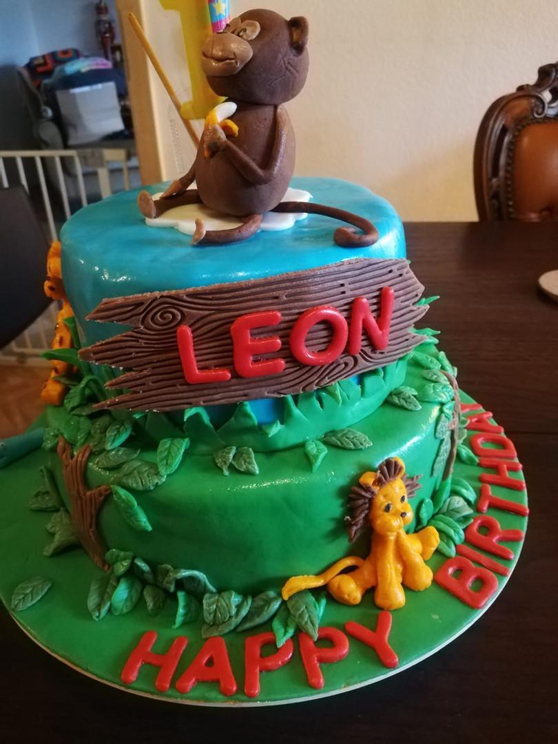 Torte Kindergeburtstag Dschungel, Löwe, Affe (Kundenfoto)