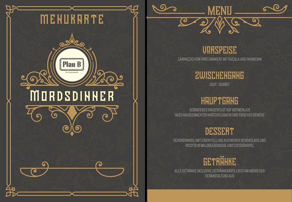 Mordsdinner Menukarte mit Vorspeise - Zwischengang - Hauptgang und Dessert in Lorsch am 28.03.2020