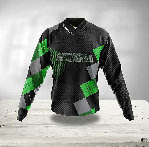 Paintball Jersey grün schwarz grau kariert mit Punkten und schwarzm Hintergrund