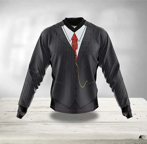 Paintball Jersey Grau mit weißem Hemd und Anzug Weste
