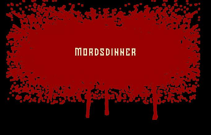 Mords-Dinner Lorsch Logo Blutspritze mit Mords-Dinner Schriftzug