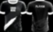 Trikot für Esport in schwarz grau und weiß mit Teamlogo und Playertag selbst gestalten